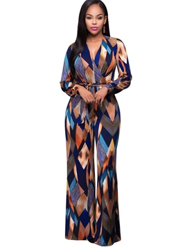 Ericdress V-Neck Plaid Wide Leg Women's Jumpsuits