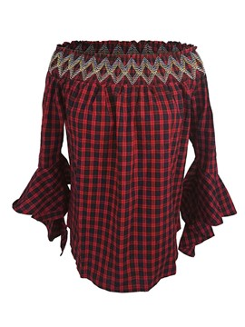 Ericdresss Off-Shoulder Plaid Flare Sleeve Blouse