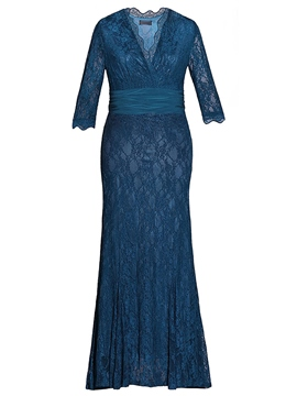 Ericdress Lace V-Neck Plus Size Mother of the Bride Dress with Sleeves