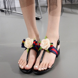 Ericdress PU Rose Decorated Thong Flat Sandals
