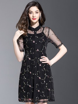 Ericdress Perspective Flower Print Women's Dress Suit