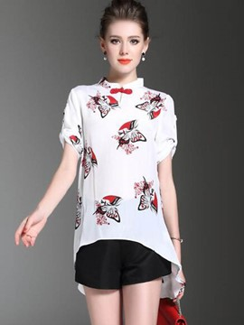 Ericdress Floral Print Irregular Plus Size Blouse