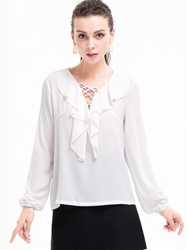 Ericdress Ruffled Lace-Up Chiffon Blouse