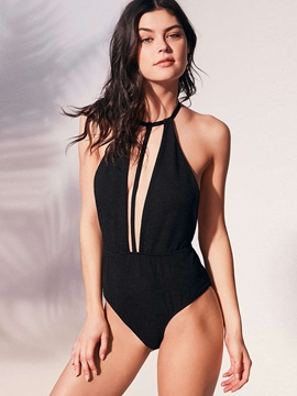 Ericdress Plain Halter Backless Monokini