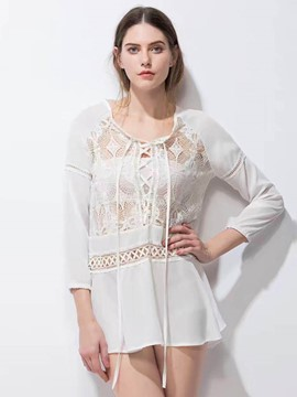 Ericdress Hollow Crochet Comfy Blouse