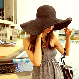 Ericdress Fashionable Wde Brim Foldable Straw Sunhat