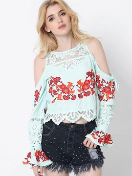 Ericdress Floral Embroidery Cold Shoulder Blouse