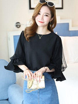 Ericdress Loose Plain Mesh Blouse