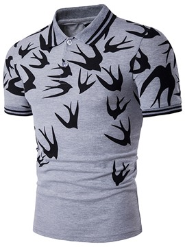 Ericdress Lapel Short Sleeve Swallow Print Casual Men's T-Shirt