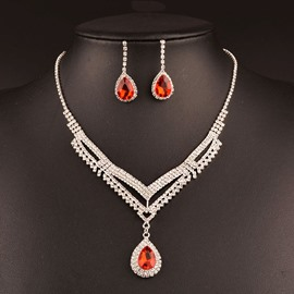 Ericdress Exquisite Ruby Waterdrop Jewelry Set for Wedding