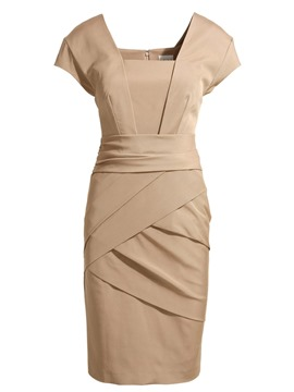 Ericdress Ladylike Square Neck Plain Pleated Bodycon Dress
