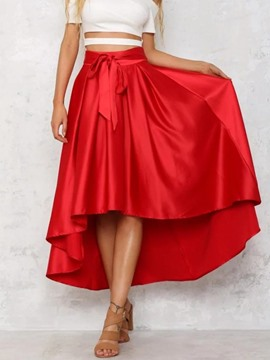 Ericdress High Waisted Pleated Pure Color Women's Skirts
