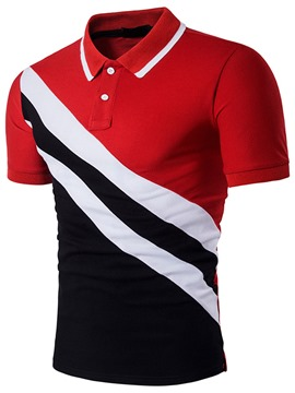 Ericdress Casual Color Block Stripe Short Sleeve Men's T-Shirt