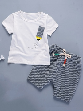 Ericdress Pencil T-Shirt Stripe Shorts Boys Casual Outfit