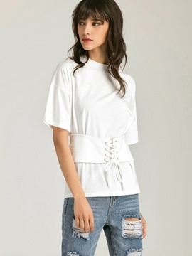 Ericdress Lace-Up Stylish White T-Shirt