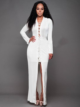 Ericdress Long Sleeve Lace-Up With Side Slit Maxi Dress