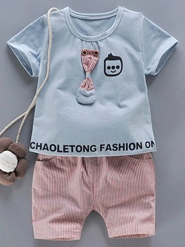Ericdress Bow Printed T-Shirt Stripe Shorts Little Boys Outifit