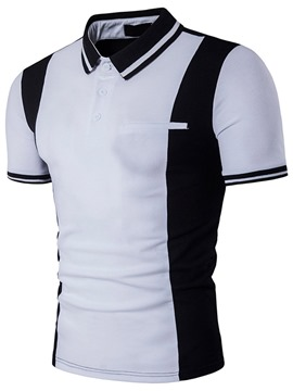 Ericdress Color Block Polo Short Sleeve Men's T-Shirt