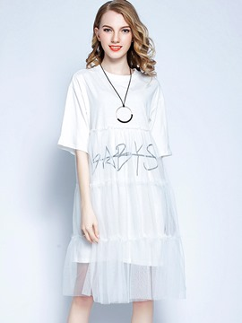 Ericdress Letter Half Sleeve Patchwork Casual Dress