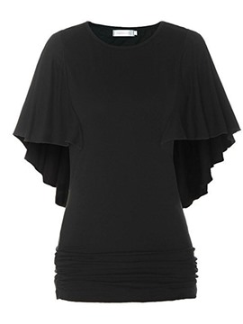 Ericdress Batwing Sleeve Ruffled T-Shirt