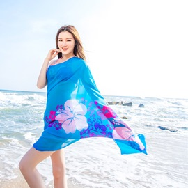 Ericdress Alluring Flower Printed Long Chiffon Beach Scarf