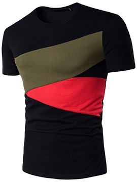 Ericdress Color Block Short Sleeve Patched Casual Men's T-Shirt