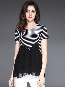 Ericdress Striped Mesh Patchwork Peplum T-Shirt