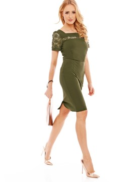 Ericdress Mid-Calf Short Sleeve Bodycon Zipper Dress