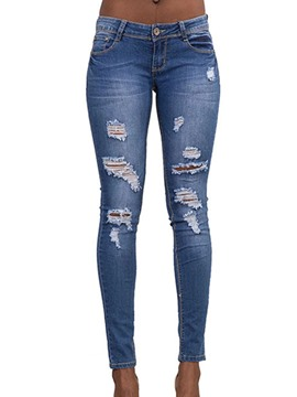 Ericdress Low-Waist Denim Skinny Women's Ripped Jeans