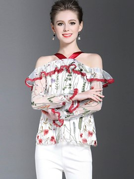 Ericdress Floral Embroidery Halter Ruffled Blouse