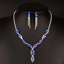 Ericdress Sparkling Blue Sapphire Two-Piece Jewelry Set for Bride