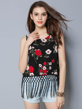 Ericdress Colorful Floral Embroidery Tassel Tank Top