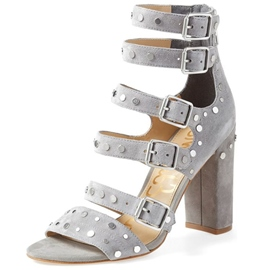 Rivets Buckle Chunky Heel Sandals