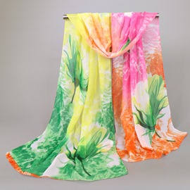 Ericdress Chinese Style Flower Printed Long Chiffon Scarf