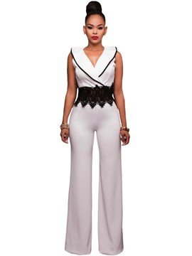 Ericdress V-Neck Sleeveless White Lace Women's Jumpsuits