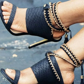 Ericdress Embossed Leather Chain Tassel Heel Sandals