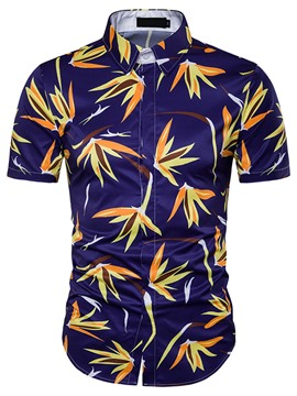 Ericdress Short Sleeve Unique Casual Print Men's Shirt