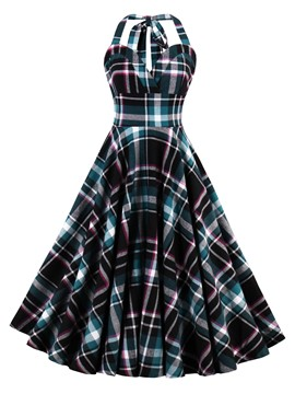 Ericdress Tartan Tied-Neck Pleated Ball Gown A Line Dress