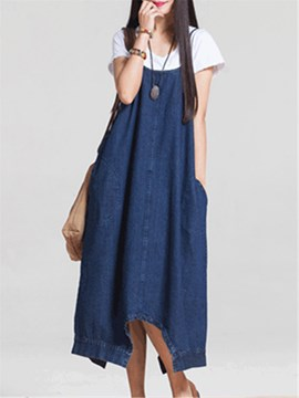 Ericdress Loose Denim Suspenders Women's Jumpsuit