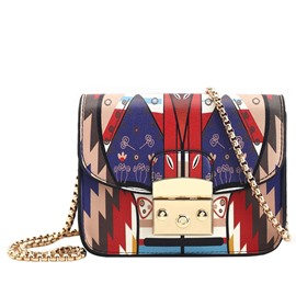 Ericdress Celebrity Geometric Pattern Print Latch Crossbody Bag