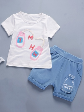 Ericdress Cotton Appliques T-Shirt Shorts Toddler Boys Casual Outfit