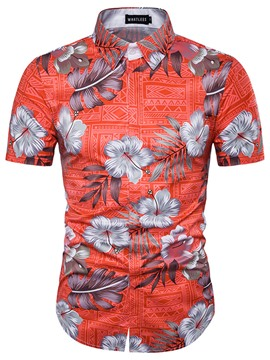 Ericdress Flower Print Casual Short Sleeve Men's Shirt