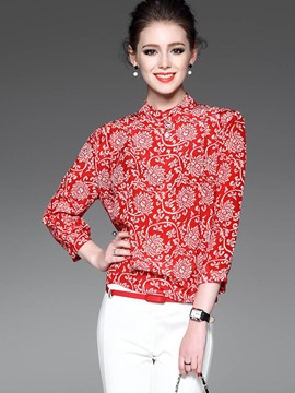 Ericdress Floral Print Crew Neck Blouse