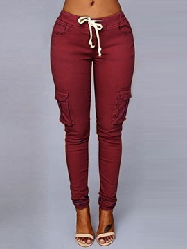 Ericdress Patchwork Skinny Plain Full Length Casual Pants
