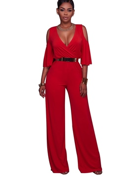 Ericdress V-Neck Red Belt Women's Jumpsuits