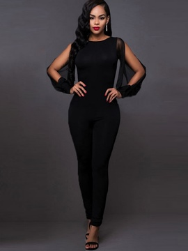 Ericdress Round Neck Black Backless Women's Jumpsuits
