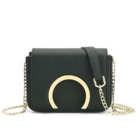 Ericdress Casual Horseshoe Metal Decorated Crossbody Bag