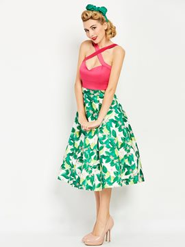 Ericdress Floral Print ContrastColor Backless A Line Dress