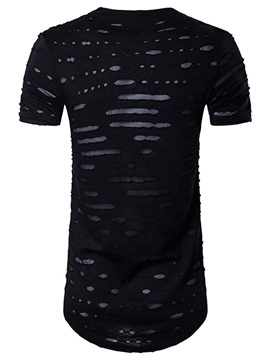 Ericdress Round Neck Slim Short Sleeve Holes Casual Men's T-Shirt