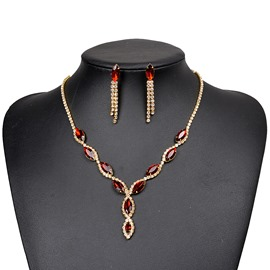 Ericdress Ruby Inlay Two-Piece Jewelry Set for Wedding